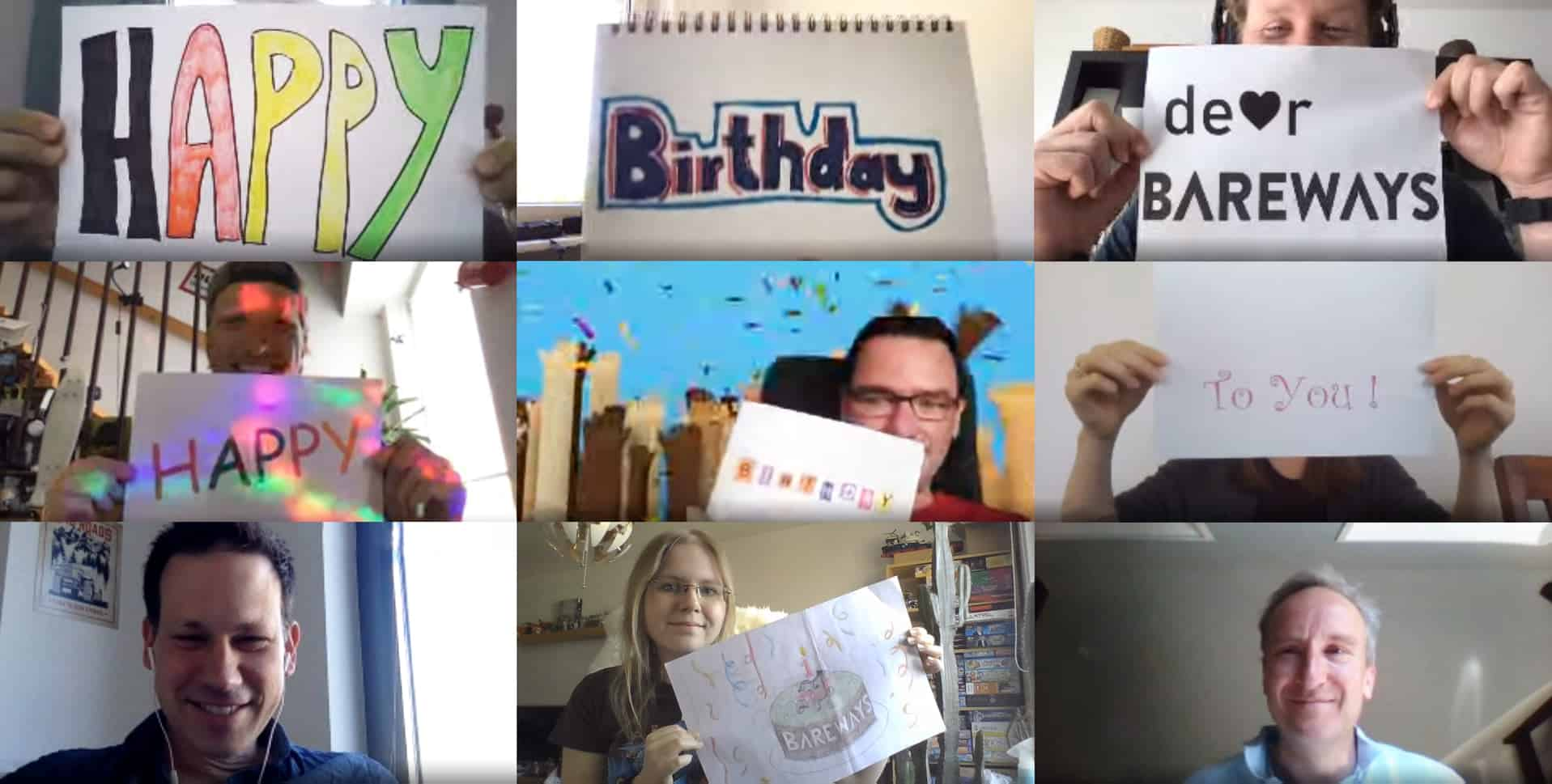 You see a screenshot of a Bareways teamchat. Team is smiling and holding Birthday wishes in the camera.