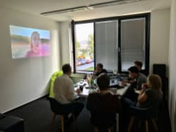 The Bareways team gathers in the meeting room for the Mettwoch to have breakfast and watch an adventure movie.